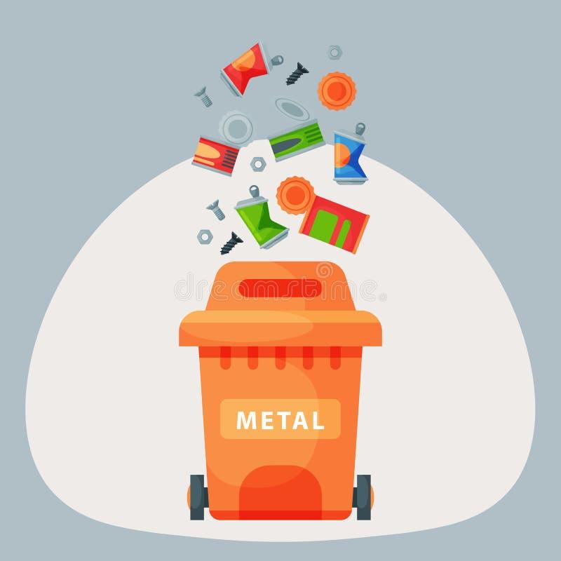 Рециркулировать управление автошин мешков для мусора элементов металла отброса индустрия использует отход может vector иллюстраци иллюстрация штока
