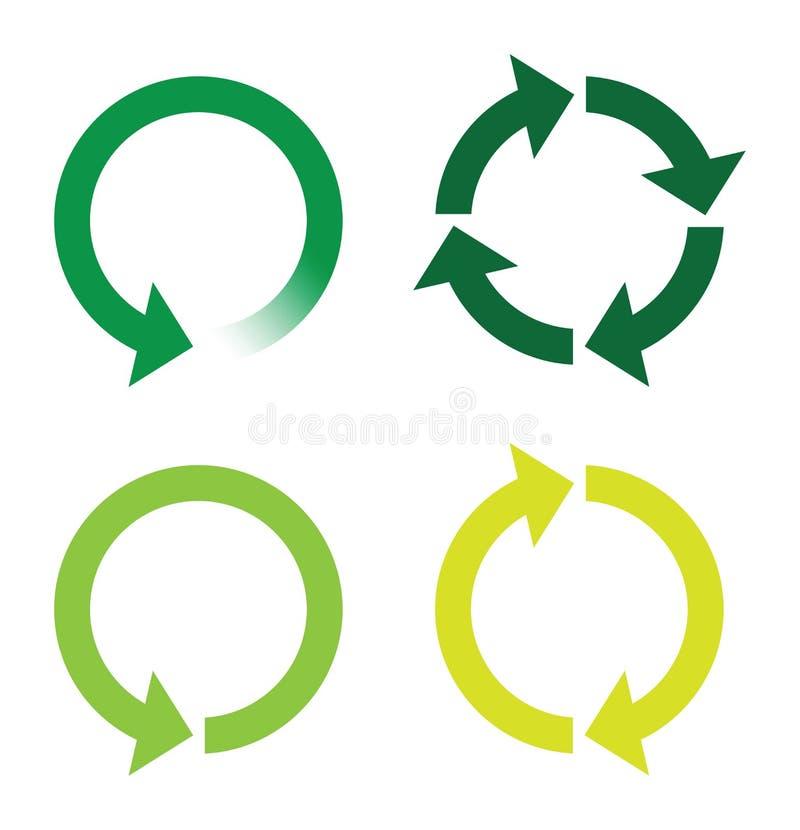 Рециркулируйте или перезарядите значки страницы зеленые иллюстрация вектора