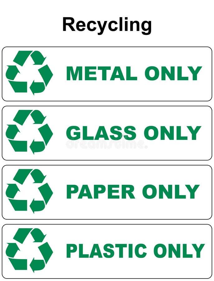 Рециркулирующ символ с различным видом ненужного стекла расточительствуйте пластмассу металла иллюстрация штока