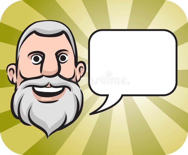 речь бородатой стороны пузыря серая с волосами иллюстрация вектора