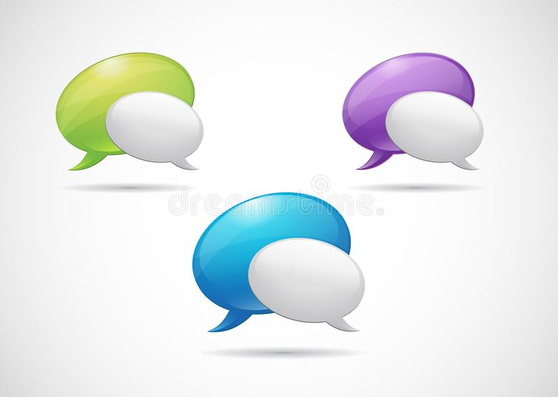 Речь зеленого цвета значка сети сатинировки, фиолетовых и голубых клокочет значок с серой тенью на белой предпосылке бесплатная иллюстрация