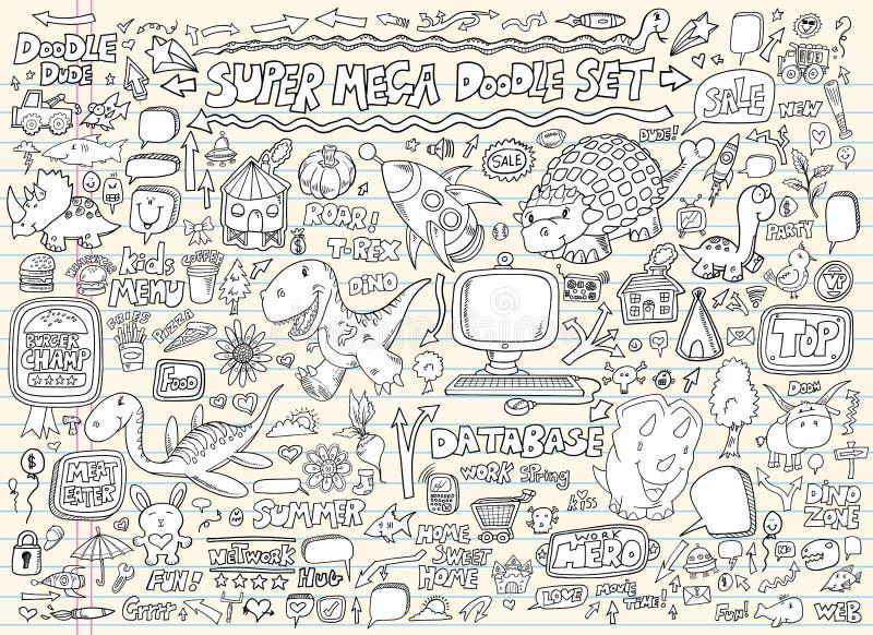 речь комплекта элементов doodle конструкции пузыря бесплатная иллюстрация