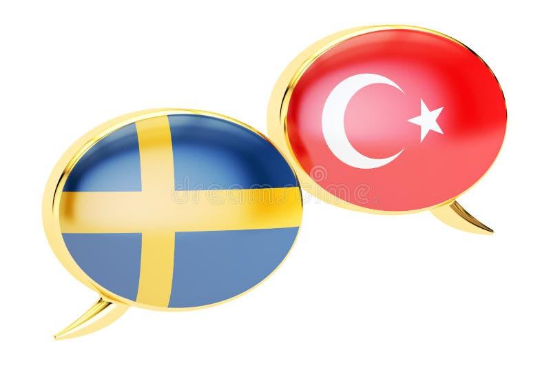 Речь клокочет, Шведск-турецкая концепция диалога, перевод 3D иллюстрация штока