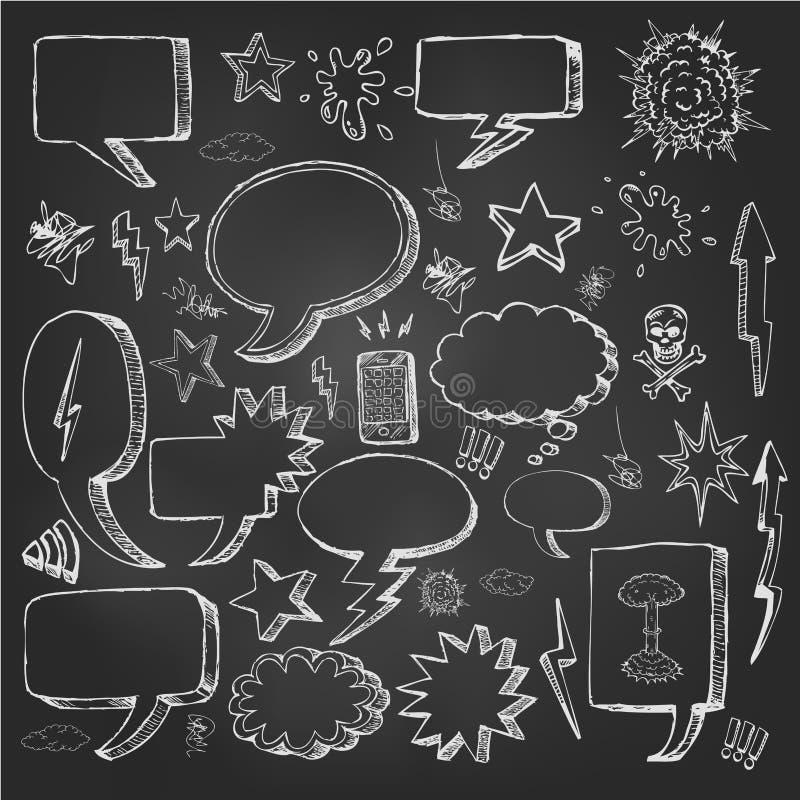 Речь клокочет doodles в черной доске иллюстрация вектора