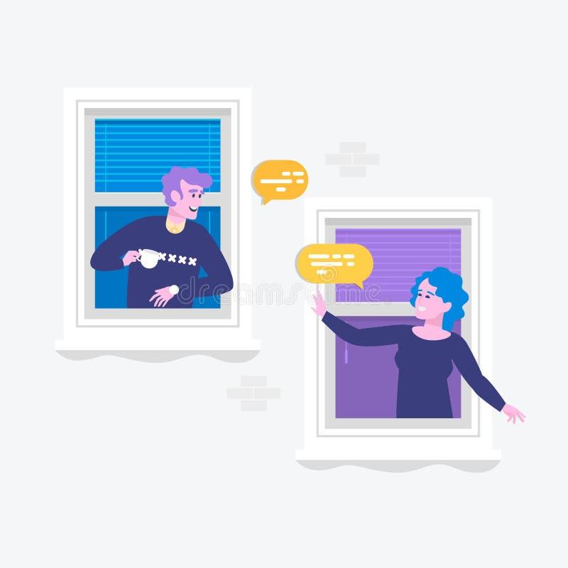 Речь пузыря диалога людей говоря Уведомление сообщений болтовни Персона человека беседуя дальше при изолированная женщина иллюстрация вектора