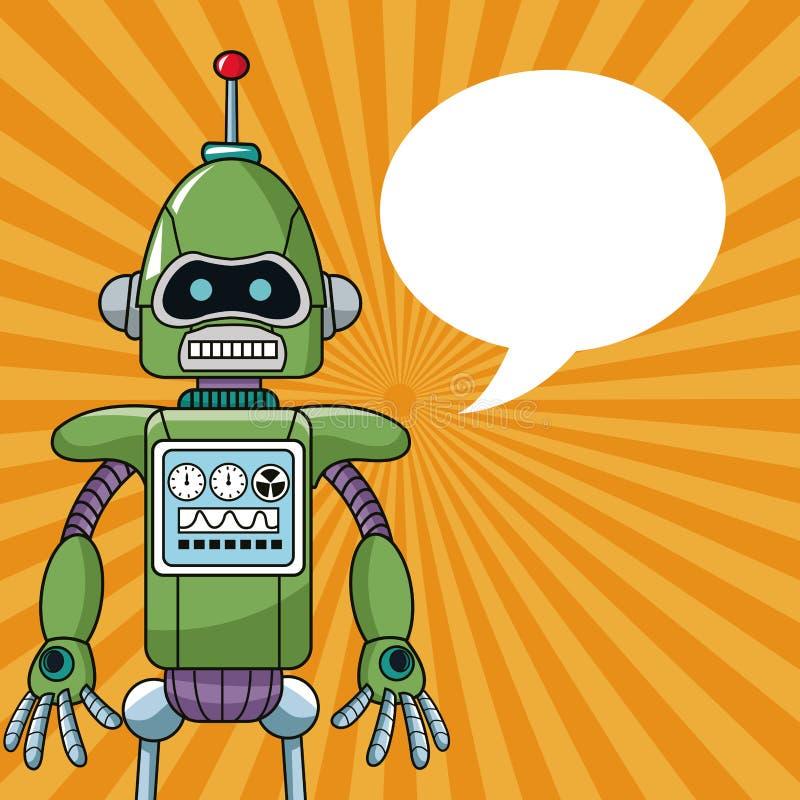 Речь пузыря инженерства машины робота иллюстрация вектора