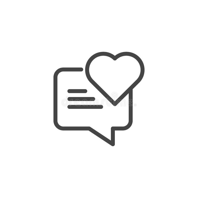 Речь пузыря с значком сердца Графический ярлык для зал чата влюбленности, датирующ места и apps, посыльные Облако диалога иллюстрация вектора