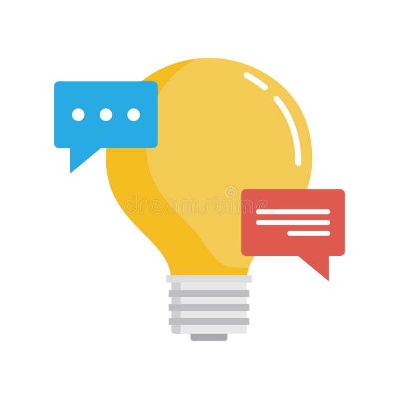 Речь пузыря с электрической лампочкой Творческие идеи бесплатная иллюстрация