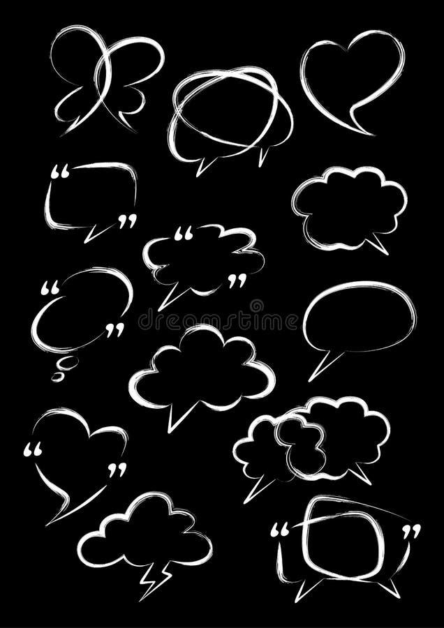 речь пузыря установленная Щетка цифров Нарисованная рука doodle вектора иллюстрация вектора