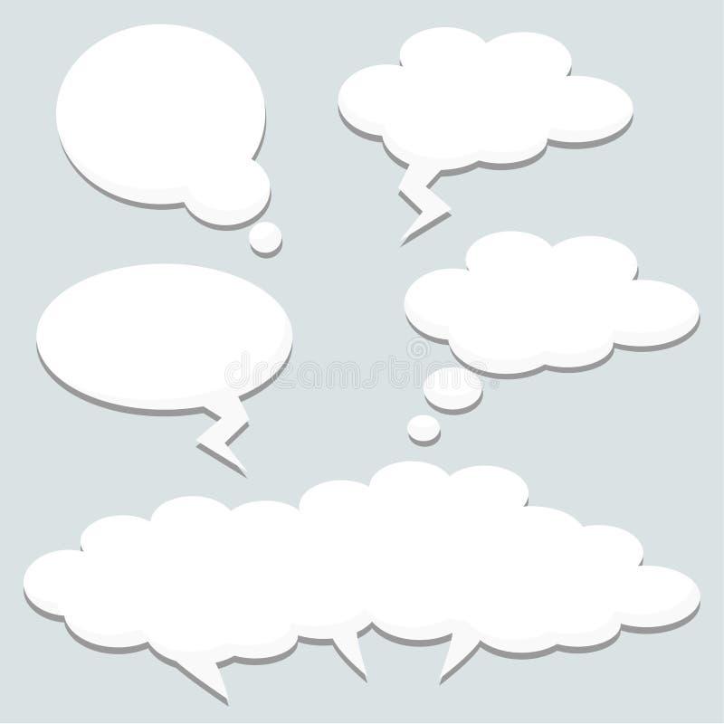 Пузыри мысли речи, облака, иллюстрация иллюстрация вектора