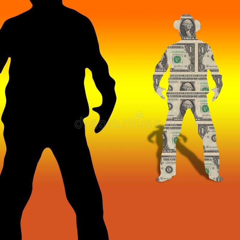 решающее сражение дег поединка долларов ковбоя конкуренции иллюстрация штока