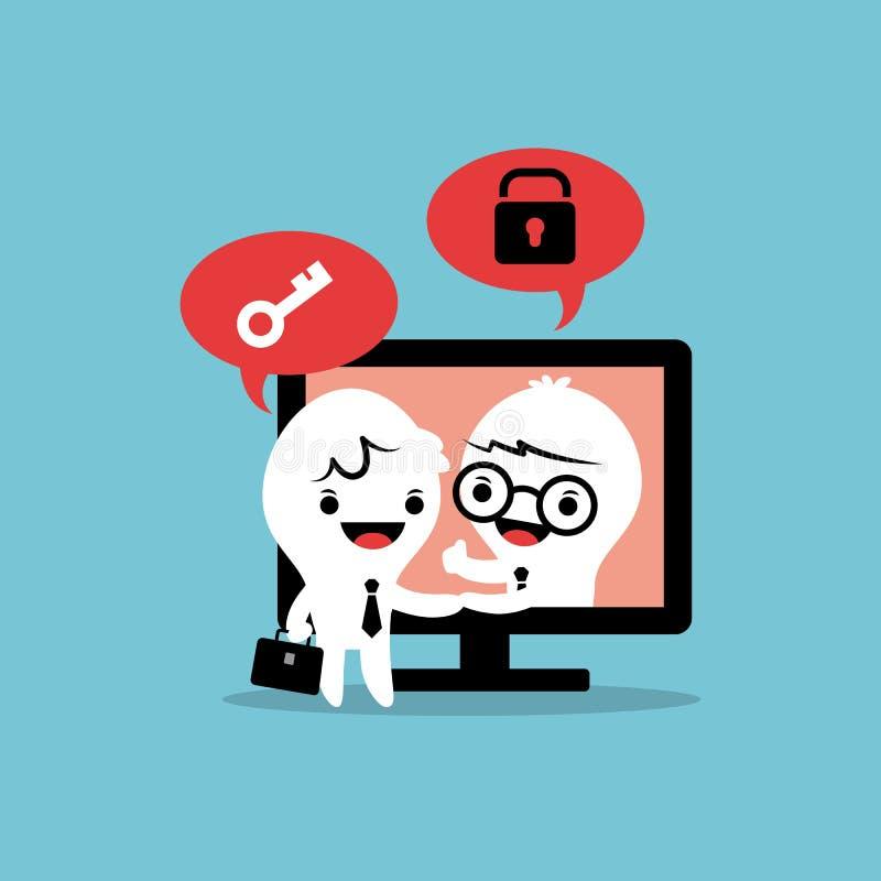 Решение дела дела экрана компьютера рукопожатия шаржа бизнесменов онлайн иллюстрация штока