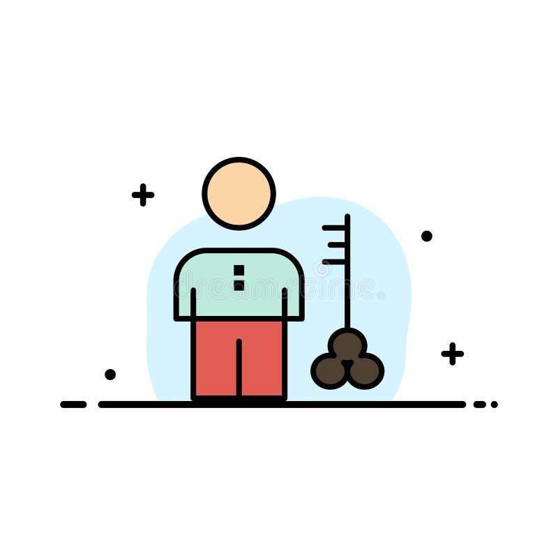 Решение, ключ, замок, человек, человек, поставщик, линия бизнеса безопасности плоская заполнило шаблон знамени вектора значка бесплатная иллюстрация
