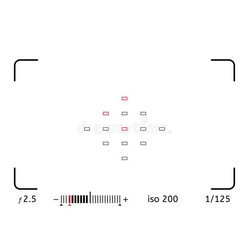 Решетка видоискателя фото или видеокамеры с много установок стрельбы на экране как точка AF, выдержка и варианты камеры иллюстрация вектора