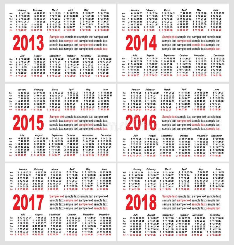 Решетка календара, комплект иллюстрация вектора