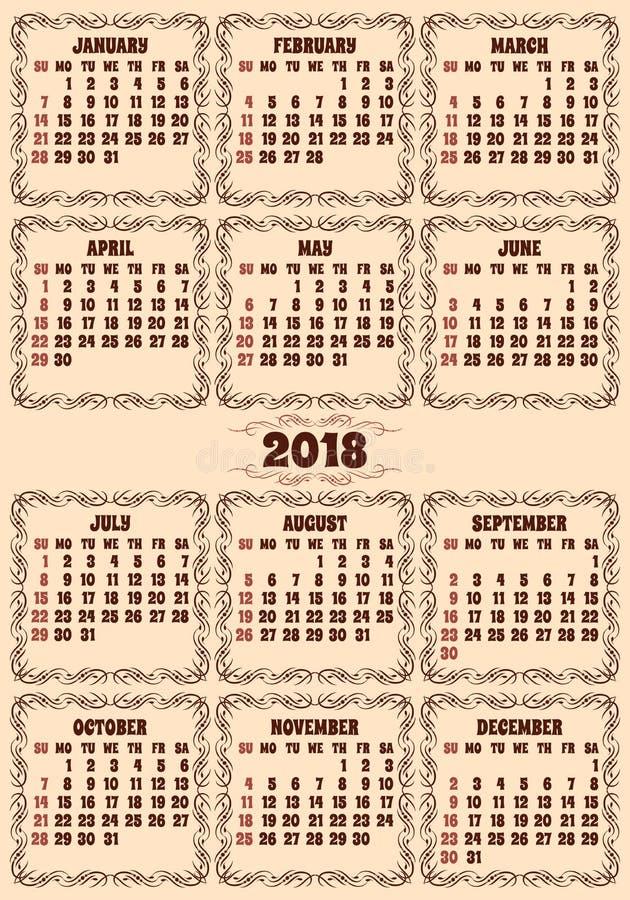 Решетка календаря вектора на 2018 год иллюстрация вектора