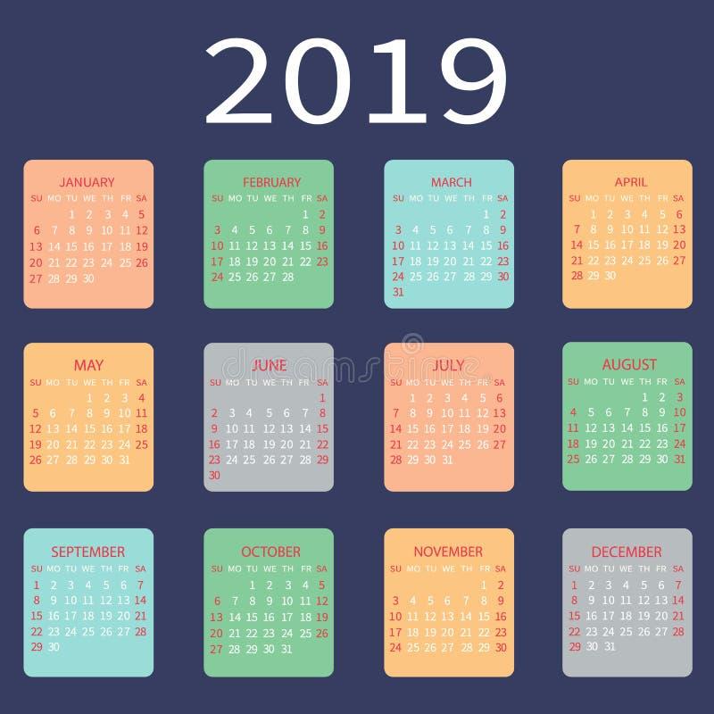 Решетка календаря 2019 основная Шаблон простого дизайна также вектор иллюстрации притяжки corel бесплатная иллюстрация