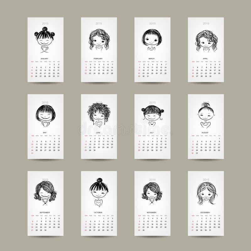Решетка 2015 календаря, милый дизайн девушек бесплатная иллюстрация