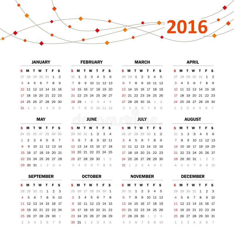 Решетка календаря на 2016 иллюстрация вектора