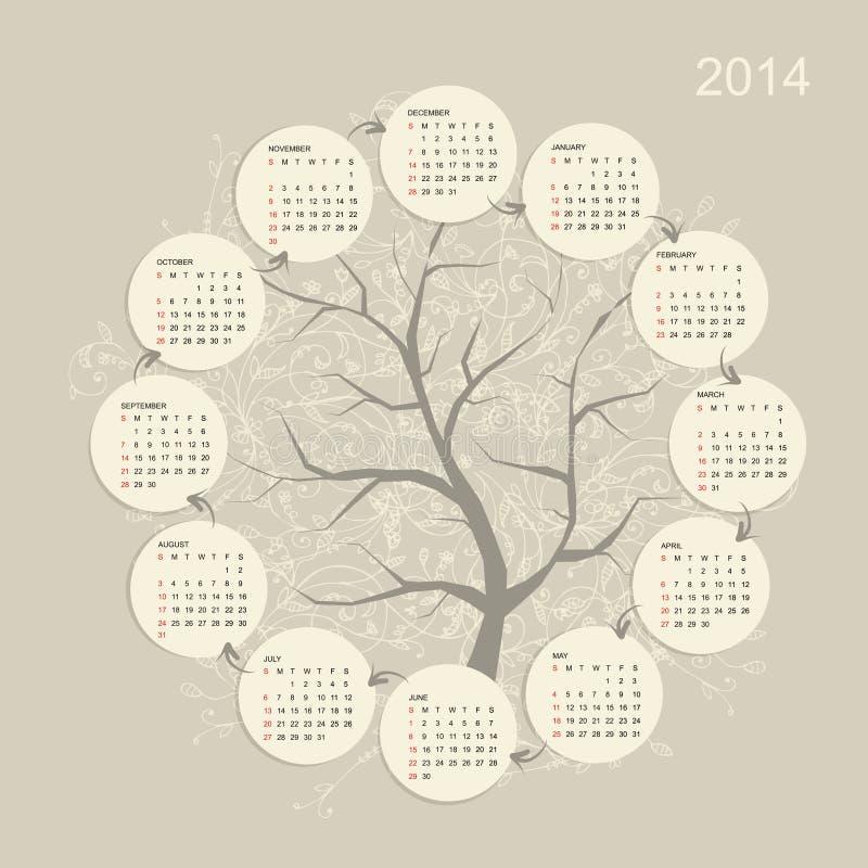 Решетка 2014 календаря для вашего дизайна бесплатная иллюстрация