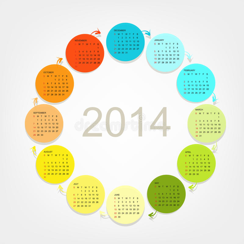 Решетка 2014 календаря для вашего дизайна иллюстрация вектора