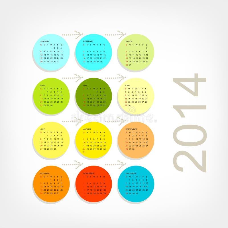 Решетка 2014 календаря для вашего дизайна иллюстрация штока