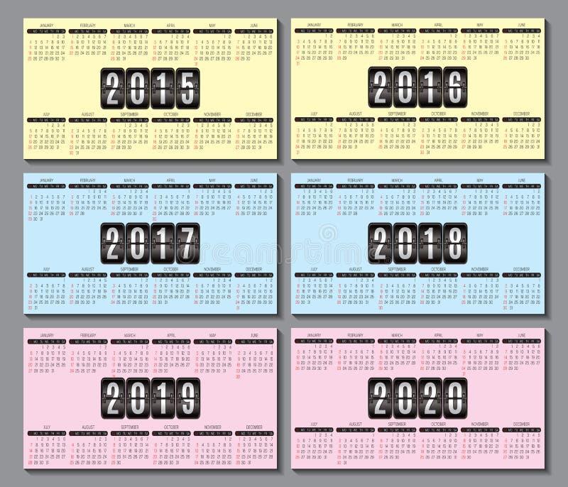 Решетка 2015 календаря, 2016 2020 для визитной карточки иллюстрация штока