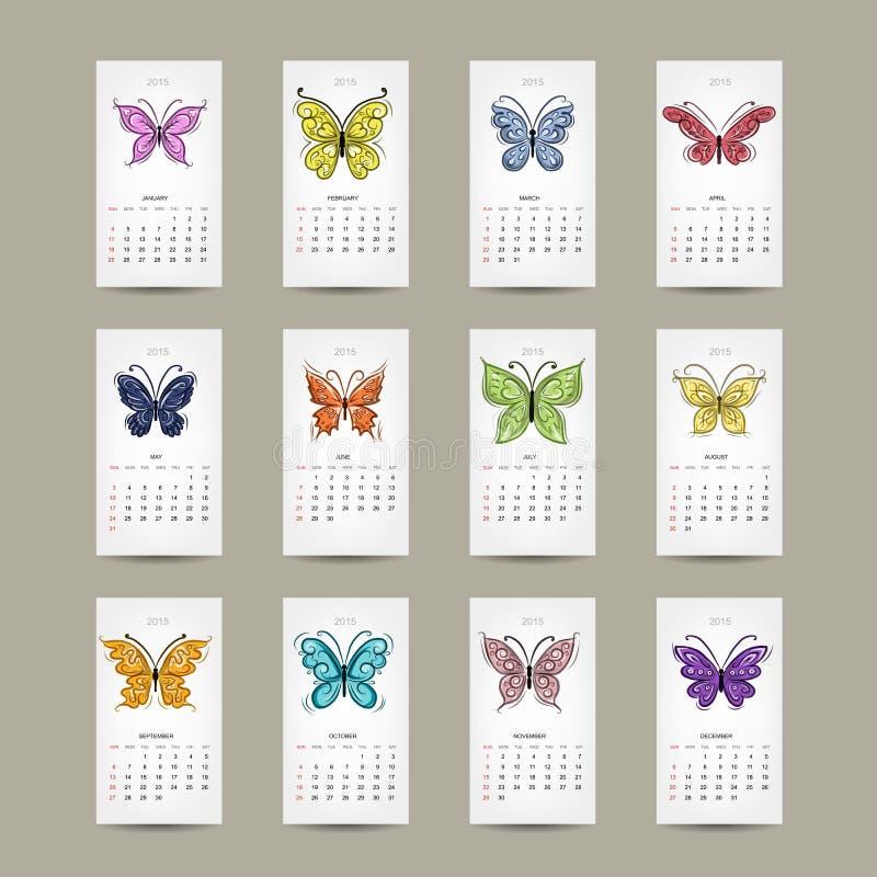 Решетка 2015 календаря, buttyrfly дизайн бесплатная иллюстрация