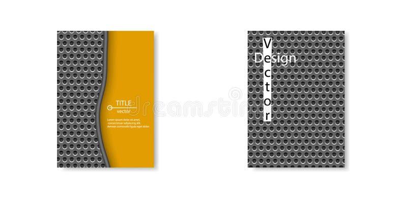 решетка нержавеющей стали техника Брошюр-стиля темная с круглыми отверстиями повторяющийся Шаблон вектора, предпосылка бесплатная иллюстрация
