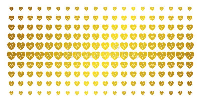 Решетка полутонового изображения золота кардиологии иллюстрация штока