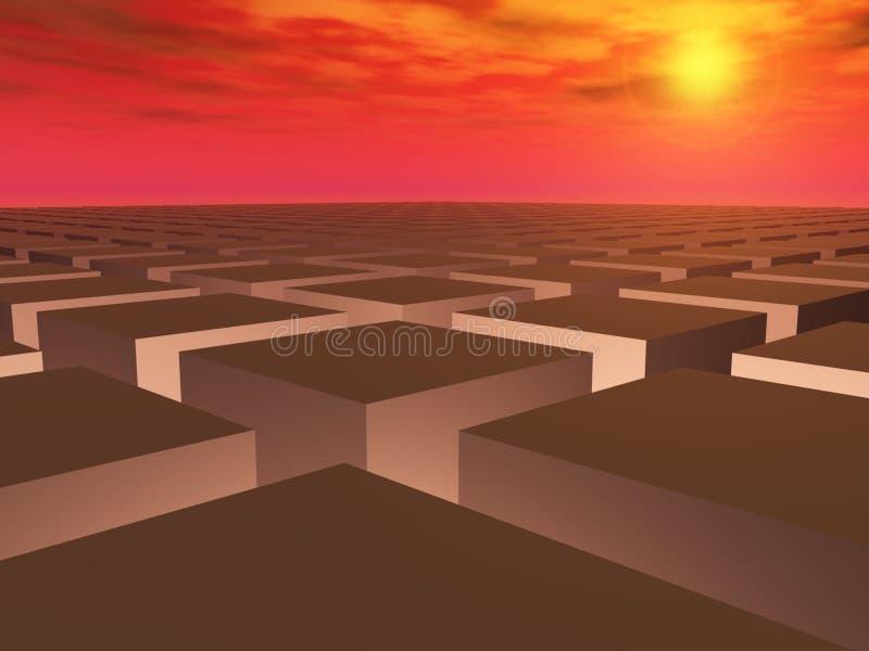 решетка поля над заходом солнца иллюстрация вектора