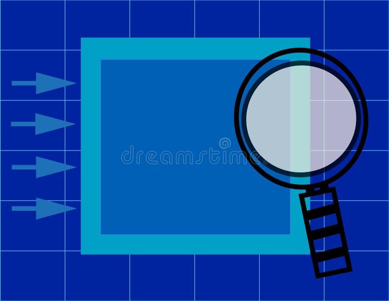 решетка скоросшивателя стеклянная увеличивая над представлением иллюстрация вектора