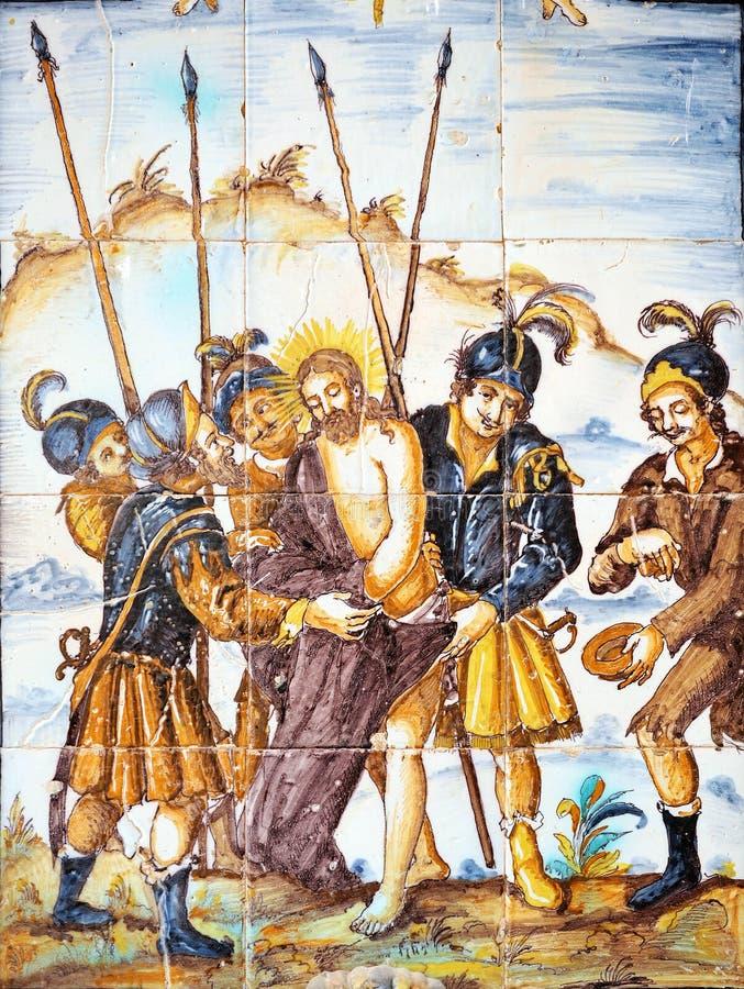 Религиозное изображение, Иисус обнажано его одежд, через Crucis стоковые фото