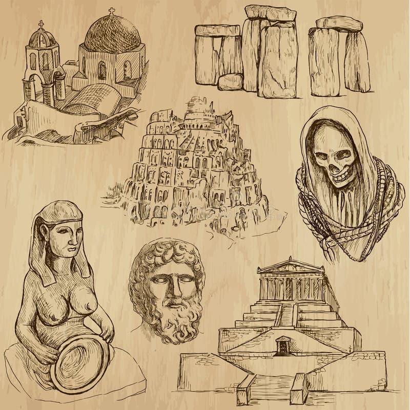 Религиозное никакое 5 - Пакет вектора, чертежи руки иллюстрация вектора