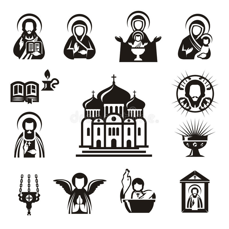 Религиозные значки иллюстрация штока