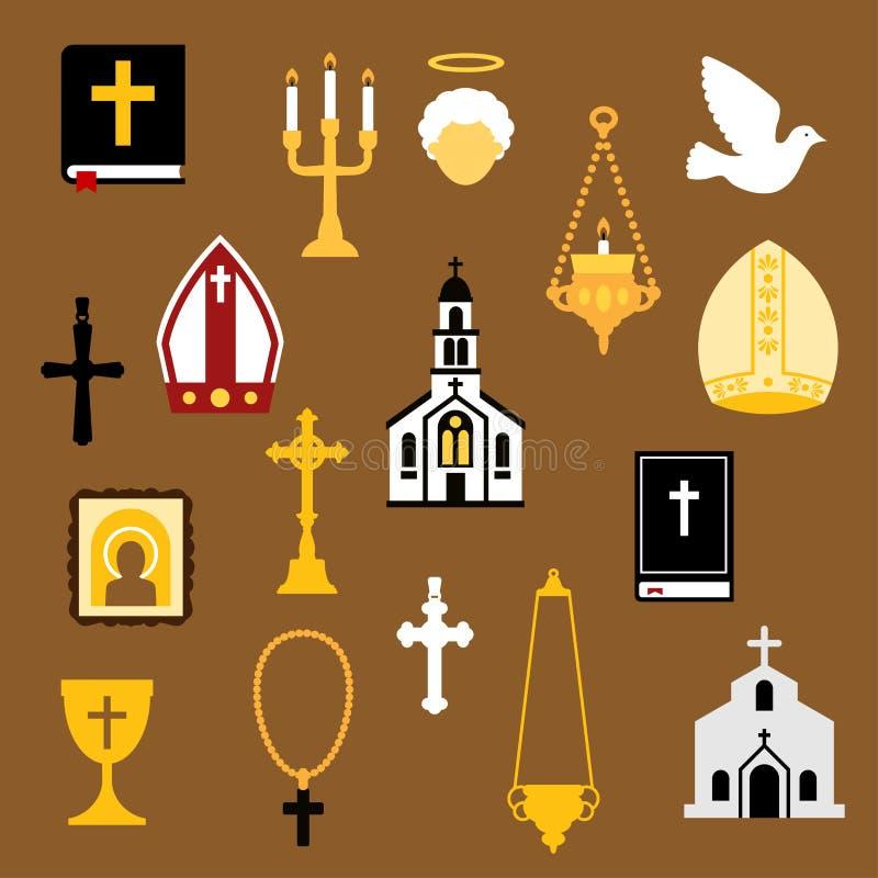 Религиозный христианин и католические плоские значки бесплатная иллюстрация