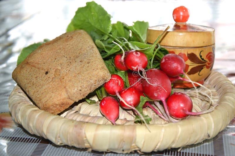 Редиска с хлебом и солью стоковое фото