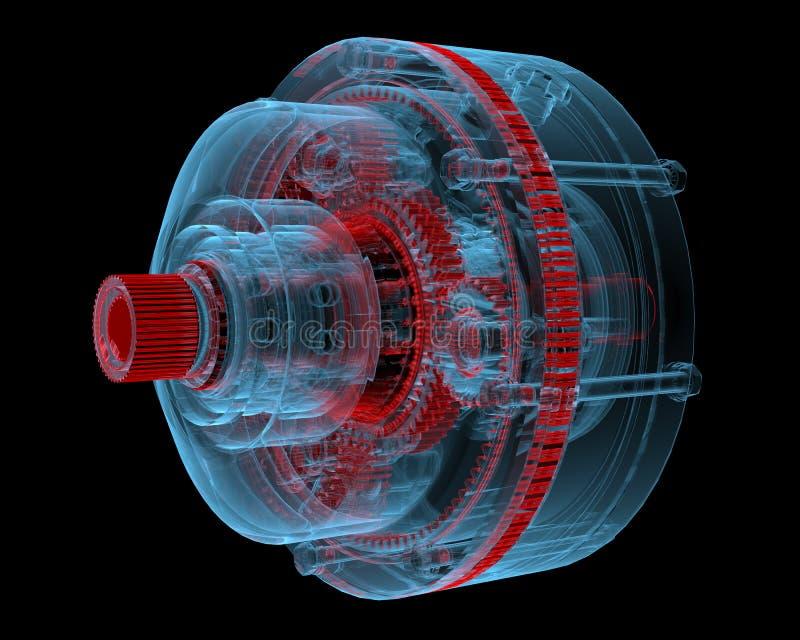 Редуктор (прозрачные рентгеновского снимка 3D голубые) бесплатная иллюстрация