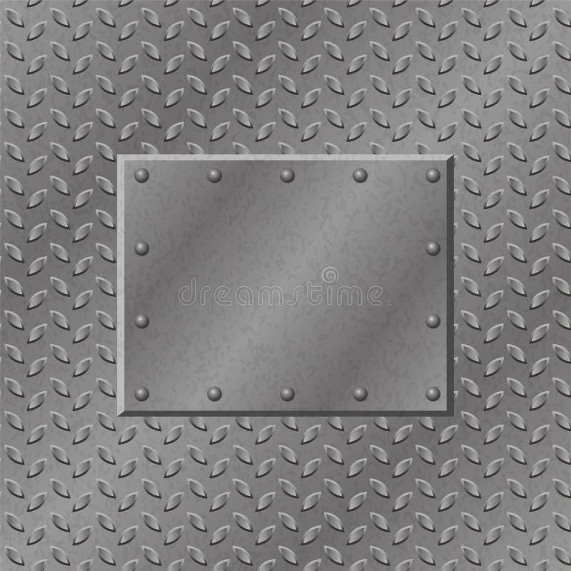 Ржавая предпосылка металла с плитой и заклепками текстура grunge металлическая иллюстрация вектора