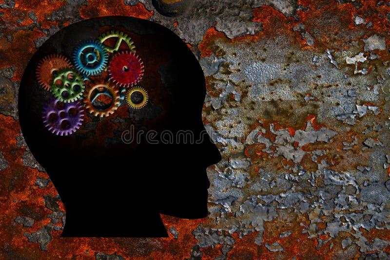 Ржавые шестерни на предпосылке текстуры Grunge человеческой головы иллюстрация штока