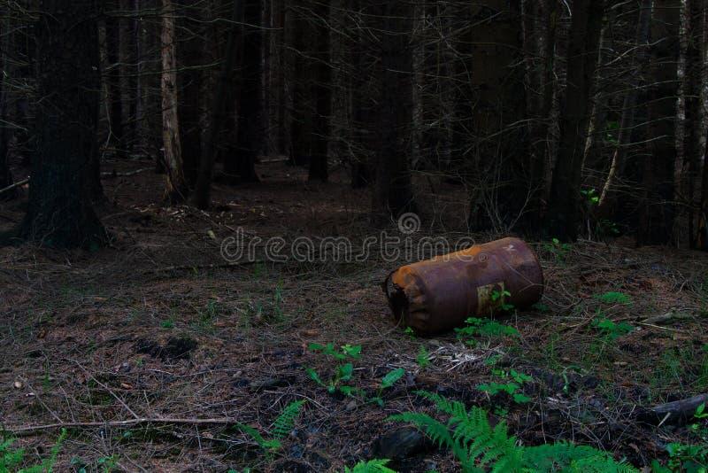 Ржавый бочонок сброшенный в лесе стоковые фотографии rf