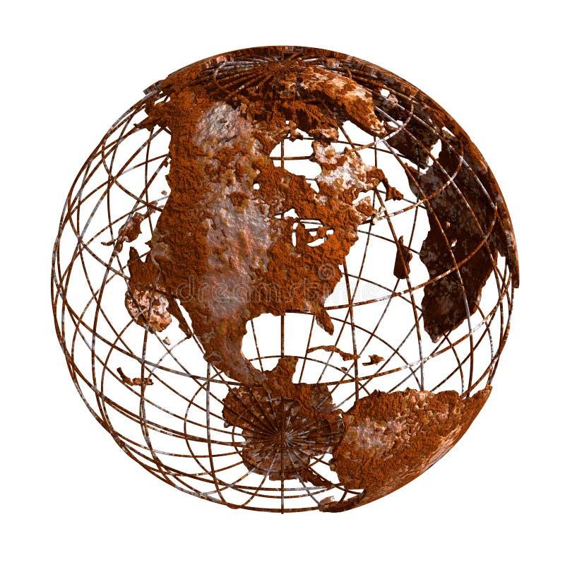Ржавый глобус планеты 3D земли иллюстрация вектора
