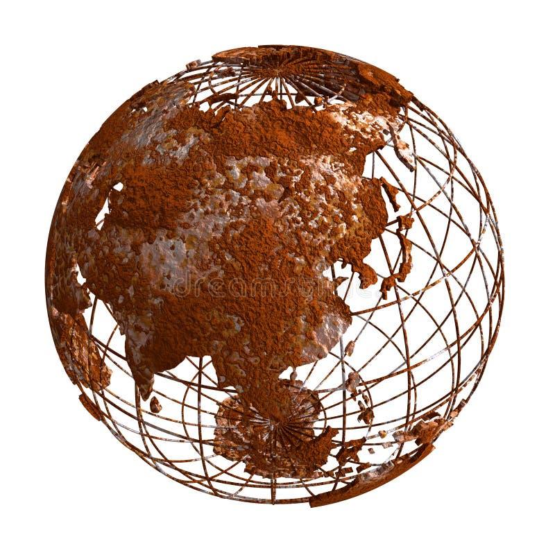 Ржавый глобус планеты 3D земли бесплатная иллюстрация