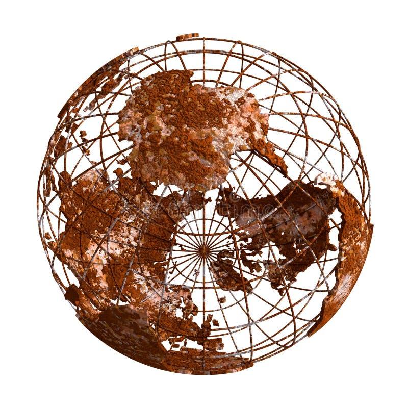 Ржавый глобус планеты 3D земли иллюстрация штока