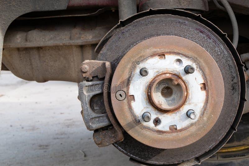 ржавый диск перерыва колеса автомобиля winker окна части автомобиля стоковое фото