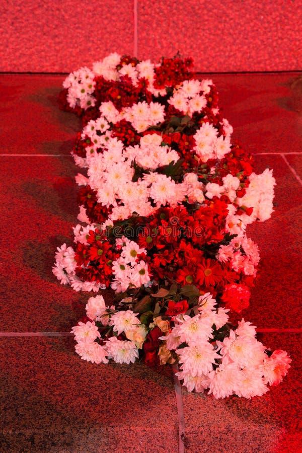 РИГА, ЛАТВИЯ, 17-ОЕ НОЯБРЯ 2017: Взгляд ночи piemineklis Brivibas памятника свободы, украшенный с свежими цветками стоковые изображения rf