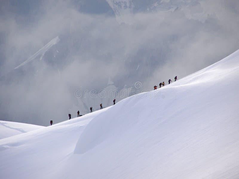 Ридж к верхней части Mont Blanc стоковые фото