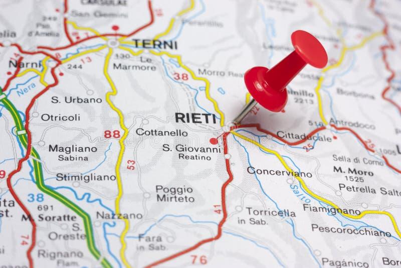 Риети Италия на карте стоковое фото
