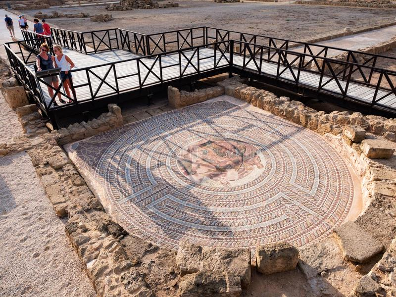 Римская мозаика на доме Theseus, Kato Paphos, Кипра стоковое изображение rf
