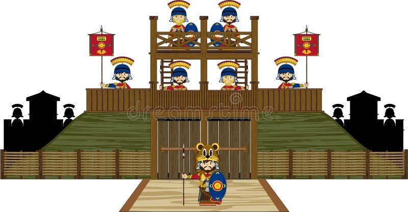 Римские солдаты центуриона на форте холма иллюстрация вектора